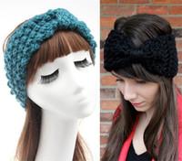 Wholesale womens knitted headbands - Womens Beanies Hat Adult Ladies Bandana Warm Headbands Winter Crochet Knitting Wool Solid Bowknot Headwraps hair accessories headwear WHA50