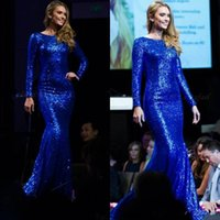 2018 Bling Sequined длинный рукав вечерние платья Лодка шеи Sexy Backless Sweep Train Women Prom Party Gown Pageant Celebrity Formal Dress