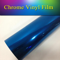 Wholesale Chrome Vehicle Wrap - 1.52x20m(5x65ft) quality vehicle wrap vinyl film Blue stretchble chrome mirror vinyl wrap for car color changing free shipping