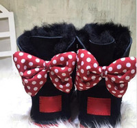 Wholesale Sheepskin Baby Boy - CLASSIC DESIGN SHORT Adult And BABY BOY GIRL WOMEN KIDS BOW-TIE SNOW BOOTS FUR INTEGRATED KEEP WARM BOOTS EUR SZIE 25-43