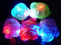 Wholesale Glow Led Toys Rose - 120pcs lot Free Shipping LED Glowing Flower Finger Rings Light For Wedding Birthday Festival Party Kids Toys Luminous Rose Lamp