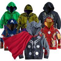 Wholesale Baby Spiders - Europe children Cartoon hooded iron Man Hulk Spider-Man Captain America boy jackets coat spring autumn kids baby fashion cosplay outwear