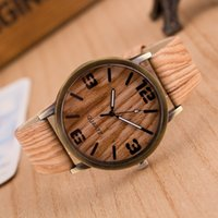 Wholesale Vintage Watches For Fashion - New Imitation wood men watch fashion women leather wooden wristwatches Vintage quartz casual watches for mens Simple Design dress watch