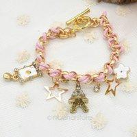 Wholesale Braid Pendant Bracelets Fashion - Fashion Sweet Poker Tower Stars Rhinestone Braided Charm Bracelet, Pearl Bracelets Pendant Hand Chain Jewelry Y60*MPJ161#M5