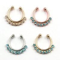 Wholesale Goth Silver Ring - 10pcs Goth punk Medical septum Piercing blue crystal nose gold ring indian silver non piercing fake nose ring hoop clip N0023