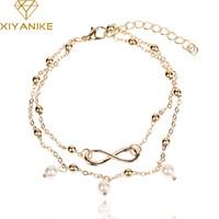 Wholesale vintage pearl clasps for sale - XIYANIKE Vintage Antique Silver Color Anklet Women Imitation Pearls Bohemian Beach Ankle Bracelet bracelets bangles XY B161