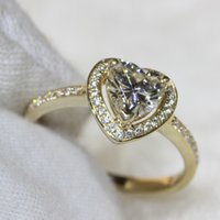 Wholesale Moissanite Yellow Gold - CHARLES&COLVARD Brand Luxury 1 Heart Shaped Moissanite Engagement&Wedding Ring 585 Solid 14k Yellow Gold