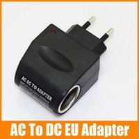 Wholesale Ac Dc Power Socket - AC TO DC Adapter EU Plug Car Charger Socket Adapter for MP3 MP4 GPS Car Power Adapter Converter 100pcs up