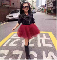 Super Brim Fur Patch Tulle Low Hem Dress Baby Girls Moda Voltar Sequins Diamond Shape Borgonha B0815
