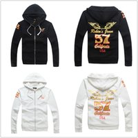 Wholesale Jacket Winged Sleeves - New 2015 High-quality robin men's Sweatshirts cotton Gold foil printing wings robins jackets men Zip-up coat size M-XXXL#RB002