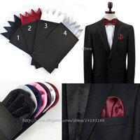 Wholesale Card Inserts - New Solid Color Men's Pre Folded Pocket Square Green Hanky Card Crown Insert Can Choose Color Free Shipping