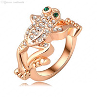 Wholesale Exaggerating Ring - Wholesale Fashion Designer Ring 18k Rose Gold Plated Austrian Crystal Jumping Frog Exaggerated Rings For Men Women Party Jewelry