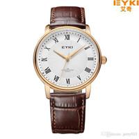 Wholesale Eyki Watches Overfly - EYKI Overfly Watch Men Watch Top Brand Luxury Genuine Leather Strap Analog Display Quartz Watch Casual Watch relogio masculino
