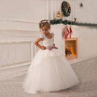 Wholesale Baby Girl Dresses Blue Lace - 2015 Off Shoulder Lace Sash Ball Gown Baby Girl Birthday Party Christmas Princess Dresses Children Girl Party Dresses Flower Girl Dresses