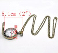 Wholesale Oval Cameo Glass - 2014 New 1 Bronze Tone Necklace Chain Quartz Pocket Watch 86cm(Can Hold 25mm Cameo) Free Shipping