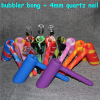 Wholesale Toys Water Pipes - Silicone Wax Kit Set with square sheets pads mat barrel drum Silicone Hammer Bubbler bong bubbler water pipe tobacco pipe bongs