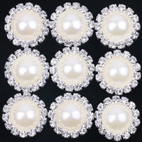 Wholesale Diamond Loose Rhinestones - New White 18mm Flat Back Crystal Pearl Buttons Metal Rhinestone Crystal Loose Diamonds Silver Flowewr Buttons Jewelry DIYl