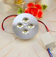 12v led de iluminación comercial al por mayor-4X1W AC85-265V LED luz de disco para gabinete escaparate pantalla mostrador barra luces iluminación comercial 13mm carcasa de aluminio ultrafino 10pcs / lot