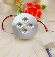 12v levou iluminação comercial venda por atacado-4X1W AC85-265V LED puck luz para exibição de vitrine de balcão bar luzes de iluminação comercial 13mm ultra-fino concha de alumínio 10 pçs / lote
