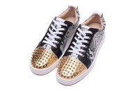 Wholesale Spiked Shoes Red Sole - L low help snake-print shoes with head gold spikes and low help men's red soles for women's shoes zise 36-46