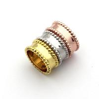 korece altın çift halka toptan satış-Toptan Kore çift satır çelik top parmak yüzük 18 K gül altın çift yüzük moda takı toptan