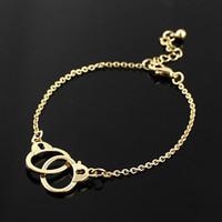 Wholesale Woman Handcuffs Bracelet - Wholesale Punk Rock Gold and Silver Color Alloy Cute Chain Handcuff Bracelets For Women  Fashion Design