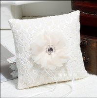 Wholesale Wedding Pillows Ivory - White Lace Pearls Flower Ring Pillows For Weddings Ivory Lace Pillows For Rings Bridal Wedding Accessories