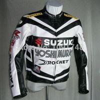 Wholesale Pu Leather Jacket Xxl - Wholesale-Top Selling High Quality SUZUKI MOTORCYCLE JACKET, BIKERS RACING JACKET PU LEATHER 2 color