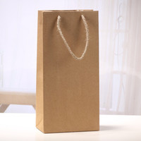Wholesale door paper - Brown Red Wine Bag With Lift Rope Kraft Paper Storage Bags For Wedding Birthday Party Pouches New Arrival 0 83sx B