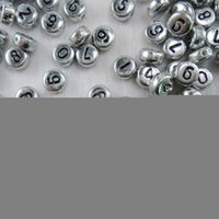 Silver Color 4 * 7mm 500pcs Round Flat Acrylic Spacer Loose DIY Number Beads Jewelry Making Accessoires LB-34