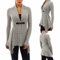 Wholesale Loose Knit Crochet Poncho - 2018 Cardigan Sweater Coat for Women Hooded Poncho Sweater Knitted Cardigan Spring Autumn Women Loose Sweater Jacket FS3099
