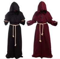 Wholesale Plus Size Halloween Cape - Free shipping Hot Friar Medieval Cowl Hooded Monk Renaissance Priest Cloak Costume Cosplay Men