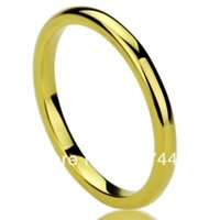 Wholesale Usa Polishes - Wholesale-Free Shipping Cheap Price Jewelry USA Brazil Russia Hot Sales His Her 2mm Yellow Gold Plated High Polished Tungsten Wedding Ring