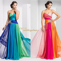 multi cor vestidos de damas de honra venda por atacado-Em estoque $ 49.00 Frete Grátis Império Strapless Chiffon Ruffles Multi-Color Lace Up Cristal Vestidos de dama de honra Formal Prom Dress Under 100