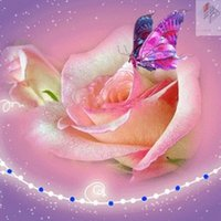 Wholesale Pink Butterfly Crafts - Pink rose butterfly 20x20cm DIY diamond embroidery painting set full stone cross stitch rhinestone stick mosaic crafts painting