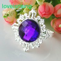 purple napkin rings wholesale 2021 - Lowest Price--100pcs Purple Vintage Style Napkin Rings Wedding Bridal Shower Napkin holder-- Free Shipping