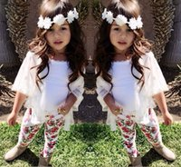 Wholesale Baby Clothes Tshirts - Girls Outfits Children's 3pcs sets Kids girl Tshirts+lace cotton cardigan+print floral cotton legging Baby girl clothes