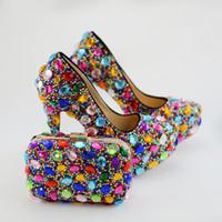 ботинки сочетаются с муфтами оптовых-Красочные горный хрусталь свадебные свадебные туфли с муфтой женщин партии Пром туфли на высоком каблуке с соответствующей сумкой плюс Размер 45