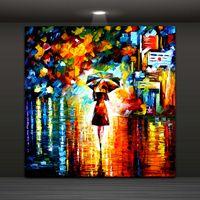 ingrosso piovendo l'arte-Pittura astratta moderna della parete della ragazza dell'ombrello nella pioggia Pittura decorativa domestica di arte dipinga sulle stampe di canapa