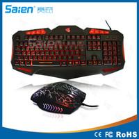 Wholesale Luminous Backlit Keyboard - Luminous backlit gaming keyboard and mouse game Keyboards Wired Internet keyboard and mouse factory wholesale