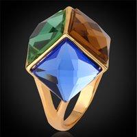schöne zirkonia ringe für frauen großhandel-MGC Frauen Cube Twinkle Hochzeit Ring 2015 Neue 18 Karat Reales Gold Überzogene Hohe Qualität Schöne Zirkonia Trendy Gold Schmuck R487