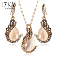 17Km Pendientes Círculo de cristal austríaco Opal Peacock Jewelry Sets Peacocks Necklace Drop Earrings Set For Women Gift joyeria