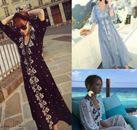 ingrosso tunica di ricamo-Ricamo etnico Boho Boho Hippie Dress Maxi Long Lino vintage Tunica bianco blu Beach abbigliamento donna estate tunique femme
