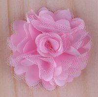 Wholesale mini mesh flowers - Chic Mini Multilayer Chiffon Mesh Flowers Artificial Flatback Fabric Tulle Mesh Flowers Children Hair Accessories Wedding Headbands Flower