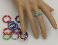 Wholesale Fimo Polymer Clay - Ring, 100pcs Mix Color Thin Polymer Clay Rings Fimo Brand Rings mixed sizes