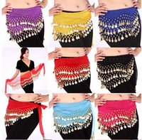 Wholesale Dancing Hip Scarf - DDA3334 New Belly Dance Costume Dancing 3 Rows Hip Skirt Scarf Wrap Belt Hipscarf with 128 Coins Bellydance waist chain Dancing Skirts