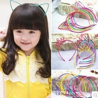 Wholesale Cat Hair Ribbon - Kids Headbands Cat Ears Bunny Ears Crown bowknot 4 designs plastic with short combs Headband variety color kid hair accessories hair band