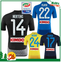 Wholesale Green Shirts For Men - 2017 2018 Serie A Naples New Napoli home soccer jerseys Napoli blue football Jerseys Shirt for men 17 18 HAMSIK L.INSIGNE PLAYER Shirt