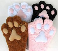 Wholesale Anime Costume Wholesalers - Wholesale-free shipping large cat paw gloves, plush bear paw gloves, cat paw cosplay, Christmas gift gloves