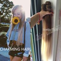 ingrosso 7a capelli indiani mongoli-2016 Nuovo arrivo ombre twon tono Virgin Hair Straight 3 Bundles 10 613 Ombre estensioni dei capelli umani Platinum Blonde Two Tone